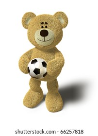 Teddy Bear smiles and holds a soccer ball in both hands in front of his belly. This image is isolated in front of a white background with soft shadow.