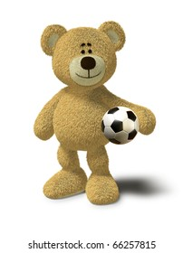 Teddy Bear smiles while he stands in front of a white background and holds a soccer ball in his left arm. This image is isolated on a white background with soft shadow.