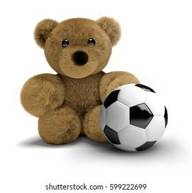 teddy bear soccer football 3d render