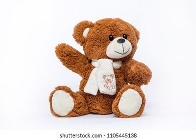 Teddy bear soft toy on white background.