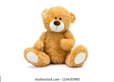Teddy bear soft toy with shadow on white background