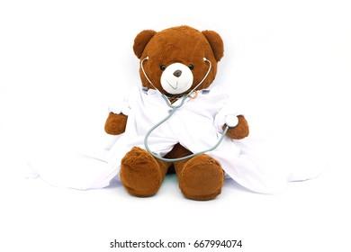 Teddy bear with stethoscope / Pediatrician.