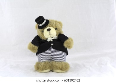 Teddy Bear in Suit on white background.