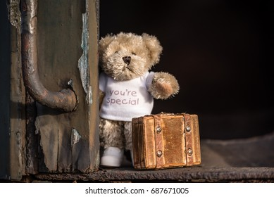 Teddy bear with suitcase says goodbye and goes on vacation by train.