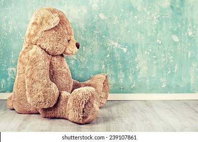 Teddy Bear toy alone on wood in front mint green background