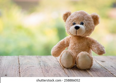 Teddy Bear toy alone on wood
