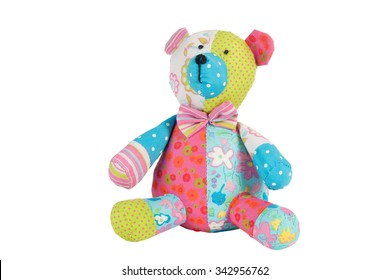 Teddy Bear toy isolated on white, Pattern Fabric