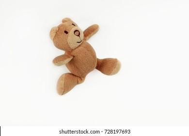 Teddy bear, toy soft bear isolated on white background, joy, flies, running, beige bear, design element, children's postcard