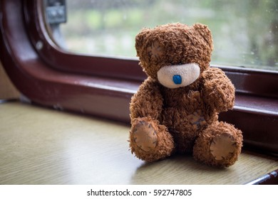 teddy bear at the train