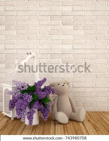 Teddy Bear Vase Purple Bird Cage Stock Photo Edit Now 743980708