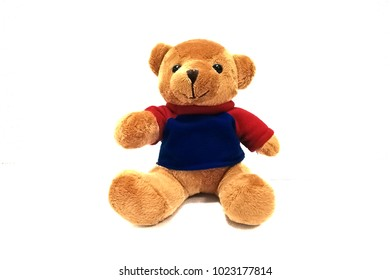 A Teddy Bear wear blue and red t-shirt Isolated on white background