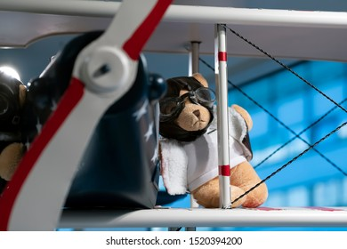 Teddy bear wearing pilot glasses and a pilot's jacket on the wing of a vintage aircraft