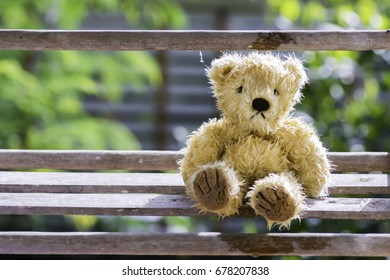 Teddy Bear with wet eyes Sit at the wooden floor to get sunlight.