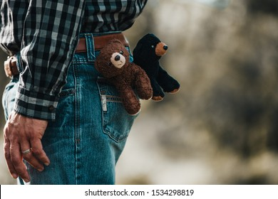 Teddy Bears in the back pocket of a male with blue jeans, tucked in plaid shirt and brown belt