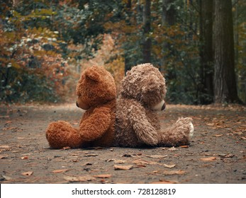 Teddy bears sit with their backs to each other. Autumn forest path. The concept of resentment, misunderstandings and conflict in relationships