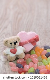 Teddy with heart pink background of love valentines day