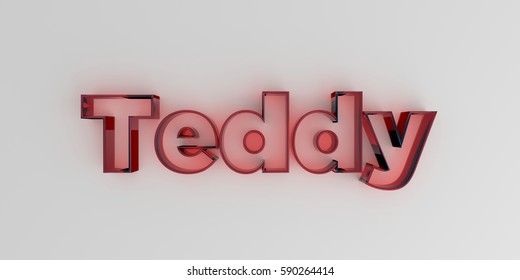Teddy - Red glass text on white background - 3D rendered royalty free stock image.