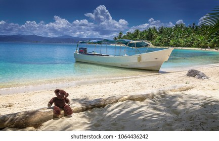 Teddy, sitting at the beach of on of the small islands of San Blas Archipelago in Panama at the panamanian East Coast.