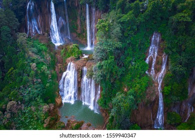 Tee lor su waterfall in Thailand at the tropical forest , Umphang District, Tak Province, Thailand