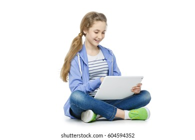 Teen age girl with tablet