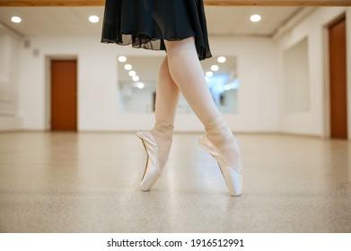 Teen ballerina legs, dance performing in class