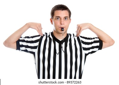 Teen basketball referee giving sign for time out