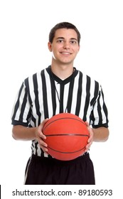 Teen basketball referee isolated on white