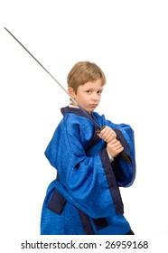 teen boy in blue kimono with sword