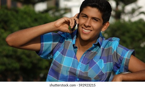 Teen Boy With Cell Phone