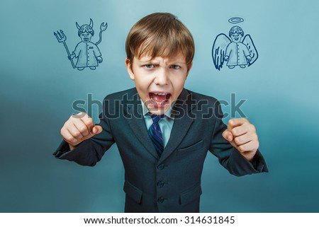 Teen boy screaming businessman