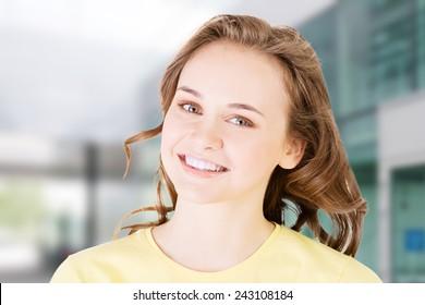 Teen brunette caucasian girl portrait