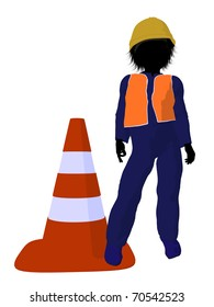 Teen construction worker with a construction cone on a white background