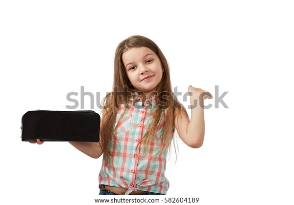 teen with empty wallet. Young woman shows her empty wallet. bankruptcy