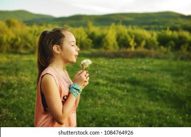 teen girl blowing dandelions on the sunny meadow
