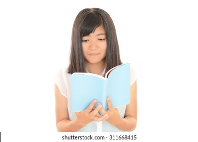 A teen girl with book