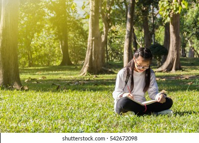 Teen girl with glasses looking a book in the park