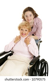 Teen girl with her disabled grandmother.  Isolated on white.