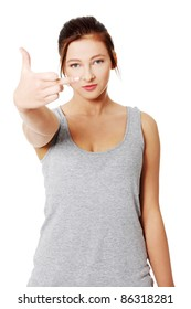 Teen girl with middle finger up, isolated on white background