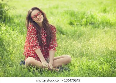 Teen girl in the park.
