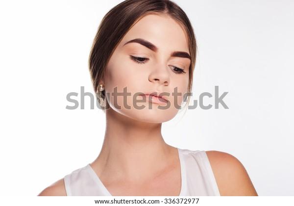 Teen Girl Perfect Skin Nude Makeup Stock Photo (Edit Now