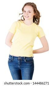 Teen girl portrait,  isolated on white background