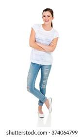 teen girl posing on white background