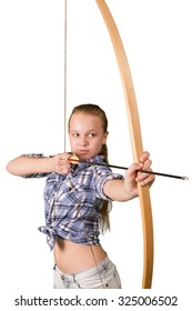 Teen girl practicing archery isolated on white background