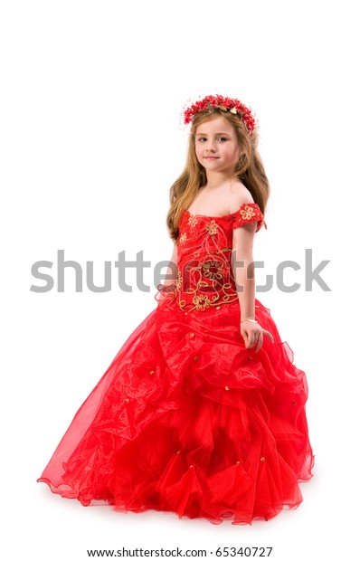 Teen girl in a red dress with a gray background