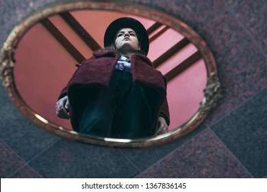 Teen girl reflection on the mirror. diversity of opinions. Creative portrait. Red colors