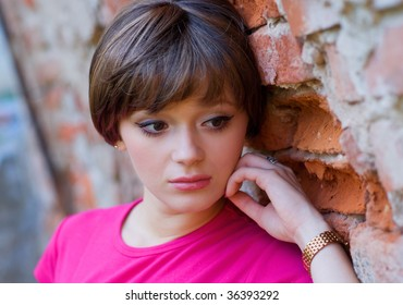 teen girl with sad expression