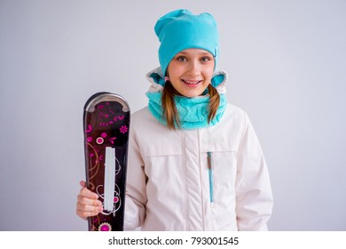 Teen girl skiing