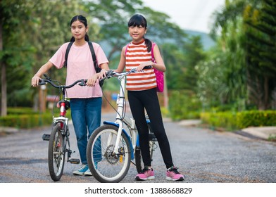 Teen girl smiling happy to go to school .children go back to school. Start of new school year after summer vacation