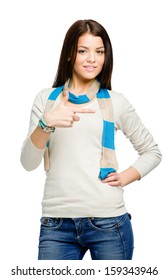 Teen hand gun gesturing wears colored scarf, isolated on white