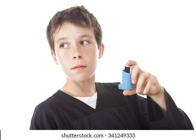 A teen having an asthma problem  in studio white